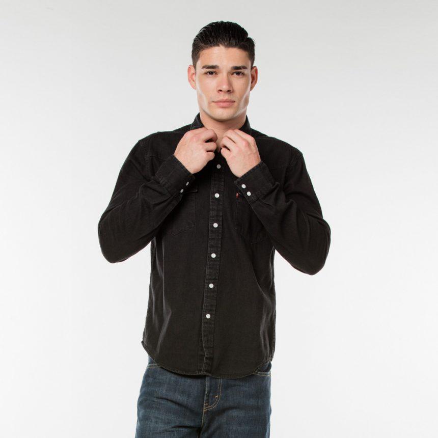 Classic Western Shirt_Arvind Black Black_Front .